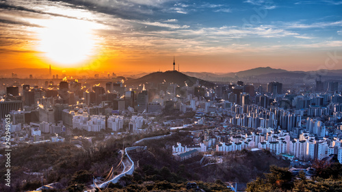 Sunrise at seoul city south Korea  - 242949635