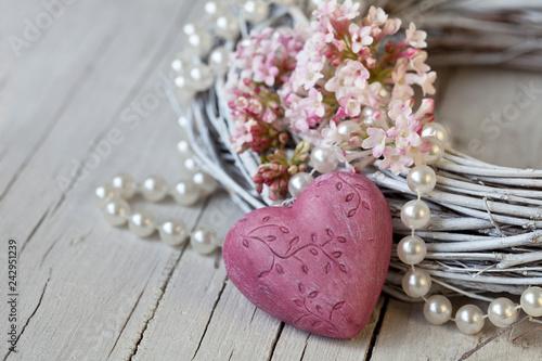 Nostalgic Still Life With Pink Flower