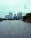Construction of buildings on the banks of Sumida River Tokyo