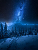 Tatras Mountains in winter at night and falling stars - 242966273
