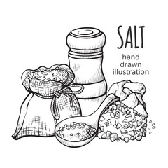 Salt in a sack hand drawn set © Vikivector