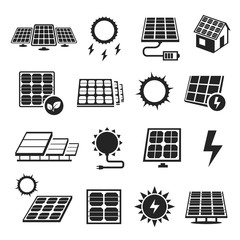 Solar panels technology, black and white icon set © Vikivector