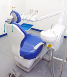 dental surgery with chair and orthodontic tools
