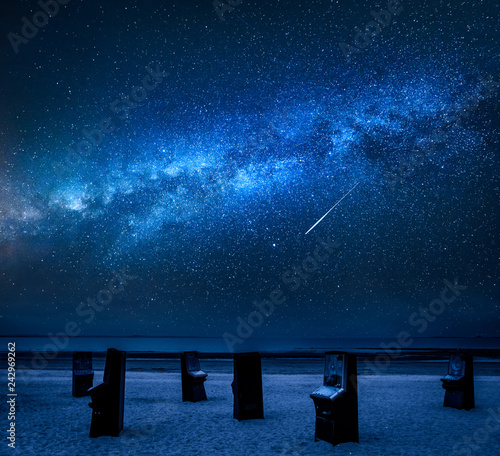 Milky way over pinball machine on Portobello beach in Scotland