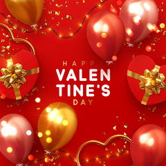 Valentines Day banner. Background design of sparkling lights garland, realistic gifts box with heart shaped, red balloon and glitter gold confetti. Holiday poster, greeting cards, headers, website © lauritta