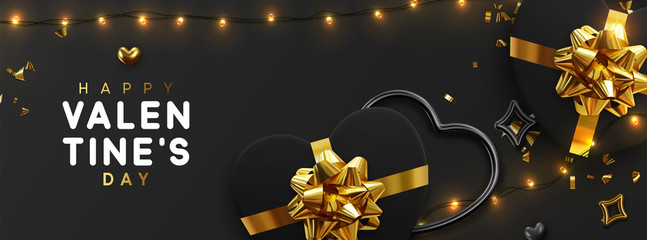 Valentines Day banner. Background design of sparkling lights garland, realistic black gifts box with heart shaped, and glitter gold confetti. Horizontal holiday poster, greeting cards, header, website © lauritta