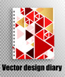 Beautiful design of the notepad on the spring - geometry style - fashionable red and gold triangles. Stylish vector notepad cover mockup