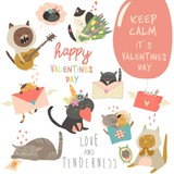 Fototapeta Koty - Set of vector cartoon characters cats in love theme © Maria Starus