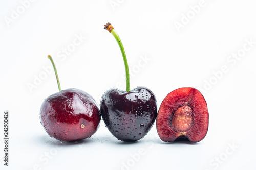 Fresh cherries on white background