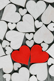 Wooden hearts background - 242991047