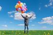 Quadro free happy man enjoying sunrise. man with holding balloon in blue sky enjoying peace