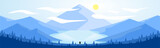 Landscape Illustration (Mountain & Lake) - Winter Daytime