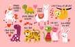 Valentine's day cute animals set with llama, sloth, unicorn, cats, dinosaur, bunny, tiger and turtle.