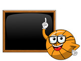 basketball ball cartoon funny character blackboard or chalkboard copyspace teacher isolated - 243003869
