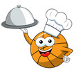 basketball ball cartoon funny character cook serving tray food isolated - 243004022