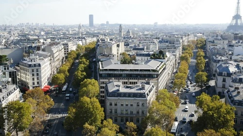 Cityscape of Paris with the Eiffel Tower and apartment buildings aerial view, France