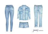 Fashion jean cloth set. Watercolor clipart. Hand drawn illustration - 243008867