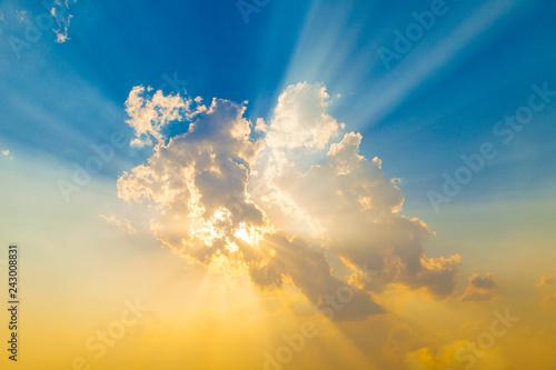 Sunset with sun rays - 243008831