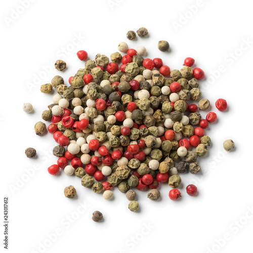 Heap of mixtured red,white and green peppercorn