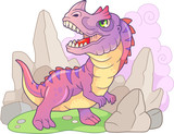 cute cartoon prehistoric dinosaur ceratosaurus, funny illustration