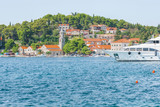 View on yacht harbor and town Cavtat south of Dubrovnik Croatia  - 243021873