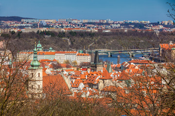 Manes Bridge and Prague old town seen from the Petrin hill