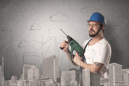 Handyman with tool in his hand and cityscape nearby.