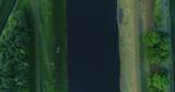 Draufsicht von einem Kanal mit Brücke aus der Luft, Deutschland - 243028253