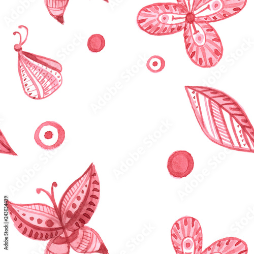 Seamless pattern of butterflies and flowers in pink in the style of abstraction  - 243034439