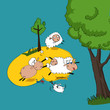 cute sheep cartoon  - 243042004