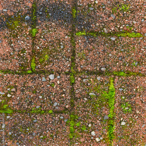 Red grunge brick wall texture background - 243045260