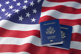 USA passport on the flag of the US United Stetes. Getting a USA passport,  naturalization and immigration concept. - 243046485