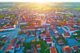 Colorful sunset above medieval town of Krizevci aerial view - 243047268