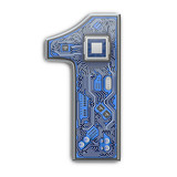 Number 1 one, Alphabet in circuit board style. Digital hi-tech letter isolated on white. - 243047800