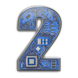 Number 2 two, Alphabet in circuit board style. Digital hi-tech letter isolated on white. - 243047895