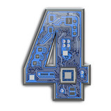 Number 4 four, Alphabet in circuit board style. Digital hi-tech letter isolated on white. - 243048023