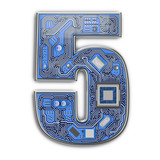 Number 5 five, Alphabet in circuit board style. Digital hi-tech letter isolated on white. - 243048049