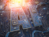 AI, Artificial Intelligence. Computer chips with CPU in form of text AI. - 243048623