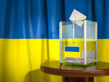Ballot box with flag of Ukraine and voting papers. Ukrainian presidential or parliamentary election. - 243048631