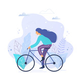 Woman riding a bicycle in park trendy vector illustration. - 243053843