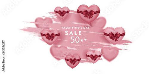 valentines day sale, 14th February, love day, 3d red and pink hearts brush design romantic love day Celebration card vector illustration