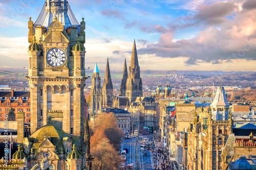 Fridge magnet Old town Edinburgh and Edinburgh castle