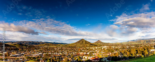 Panorama of City and Mountains on a Sunny Day - 243056611