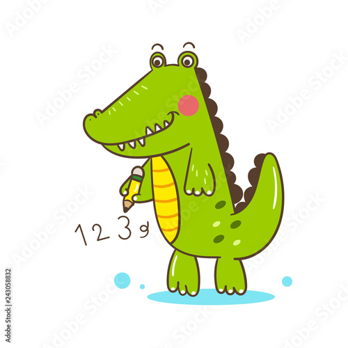 illustrator Cute Alligator cartoon of vector (Educational): Holding pencil- card and Print for t-shirt. Romantic hand drawing or instructional media illustration for children.