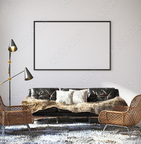 Mockup poster in hipster living room interior, 3d render