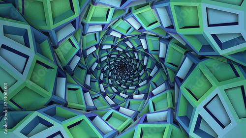 Abstract blue green architecture vortex tunnel background