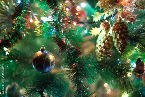 Decorated Christmas tree with shine lights