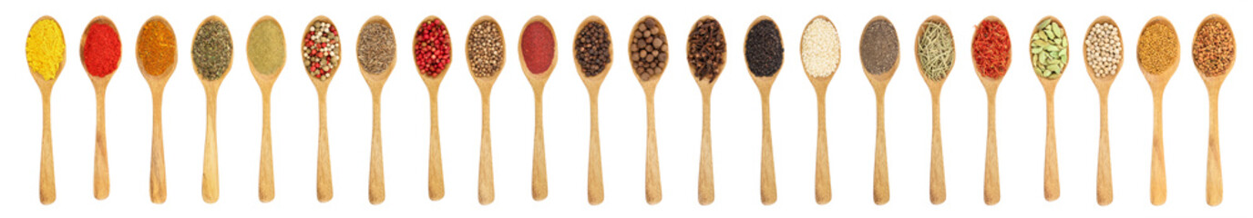 mix of spices in wooden spoon isolated on a white background. Top view. Flat lay. Set or collection © kolesnikovserg