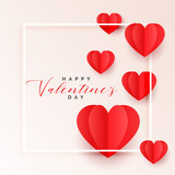 red origami paper hearts valentines day background - 243077009