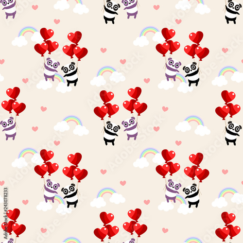 mata magnetyczna Cute couple panda and heart balloon seamless pattern.